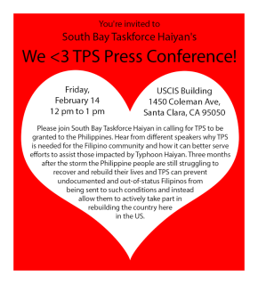 2/11: Upcoming Event- South Bay Taskforce Haiyan TPS Conference