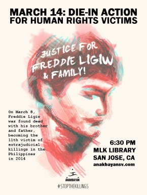 3/14: Justice for Freddie Ligiw and Family Die-in Action
